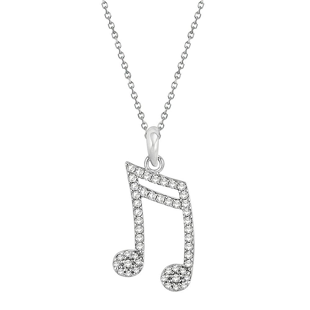 7f5c73a32b8f Get Quotations · Panache Exports 10k White Gold 16th Music Note Pendant  Necklace with Simulated Diamond