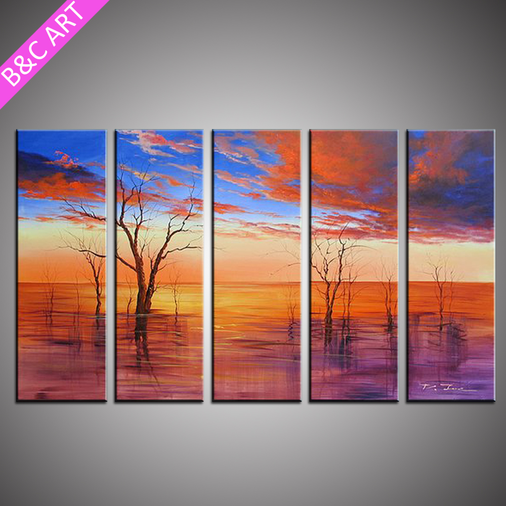 home decoration 5 panel modern wall art handmade beautiful scenery oil painting on canvas