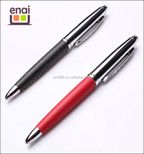 Office supply high grade true leather metal syringe pen with customized logo printing