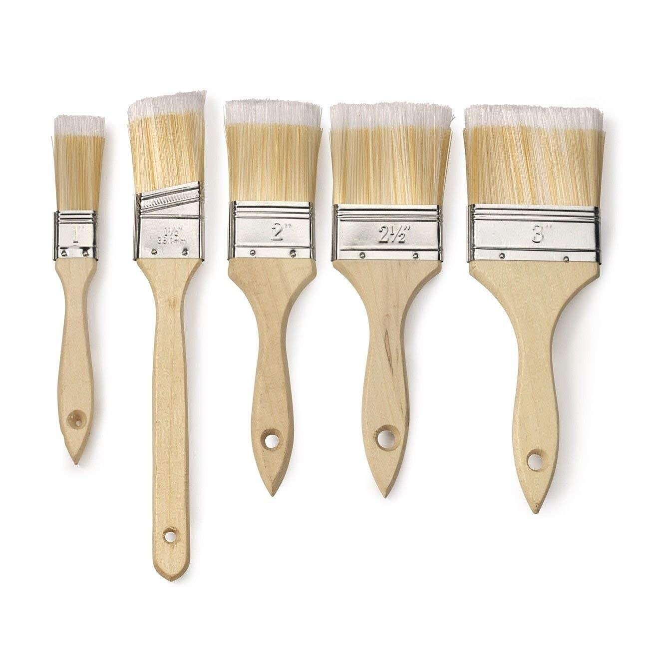 ESKALEX>>Paint Brush Set | 10pc Variety Pack Straight Wood Handle Soft Bristles Tip and 10 Paint Brushes Includes 5 of The Most Popular Widths for Versatility Polyester Bristles Sturdy Natural Wood