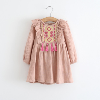 d81d9de265442 S32831W New arrival 2017 fall baby girl national style embroidery fringe  fancy dress