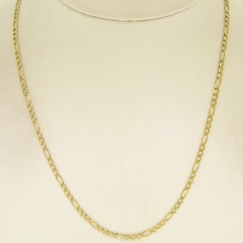 4fdc7e77c345 14k Solid Yellow Gold Italian Made 18 quot  2.6mm Figaro Link Chain Necklace