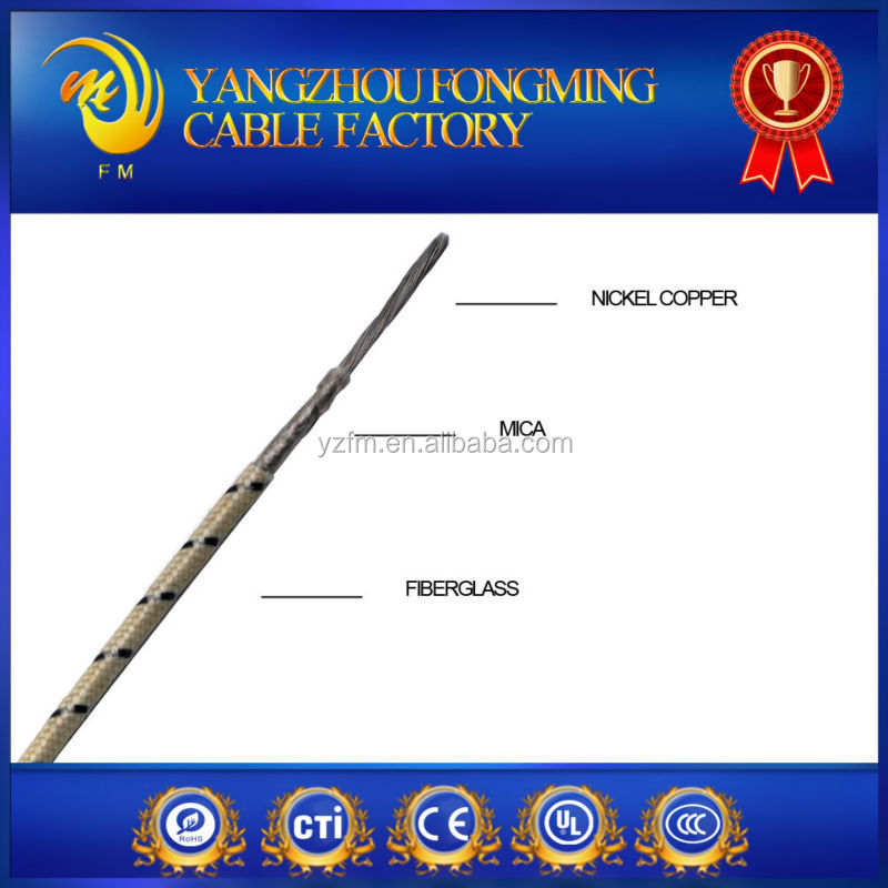 High Quality 24awg Pure Ni Core Fiberglass Braided Wire