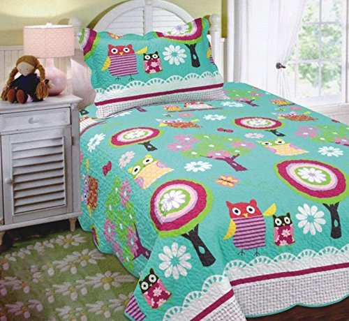 Fancy Collection 2pc Twin Size Quilted Bedspread Set Owls Flowers Teal Green Pink Purple White New #Owl Teal