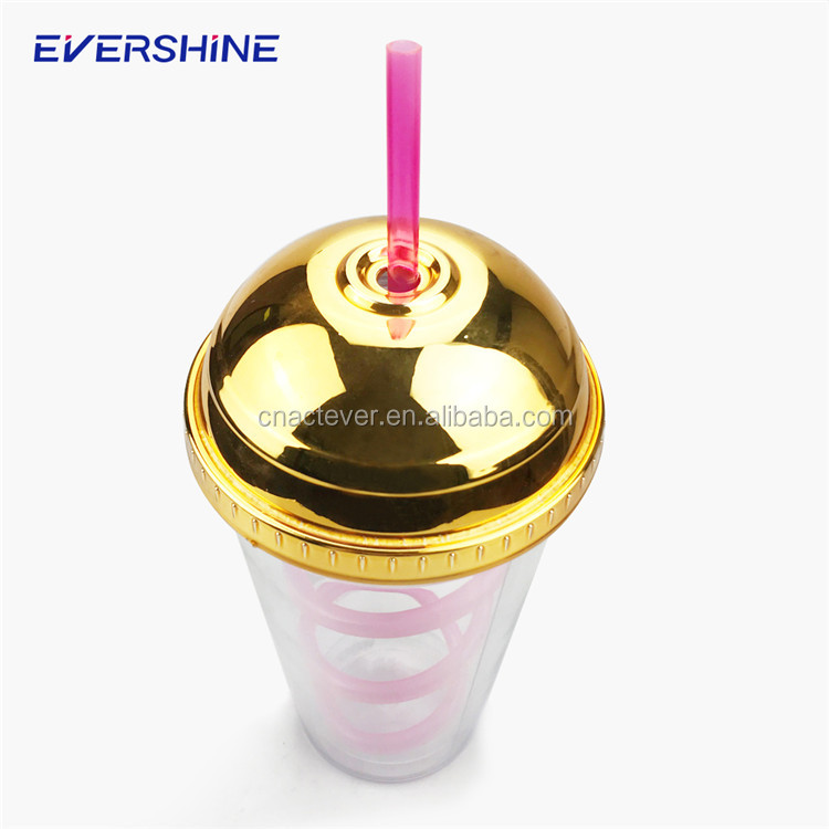 New innovative products transparent 500ml double wall plastic tumbler straw cup with lid