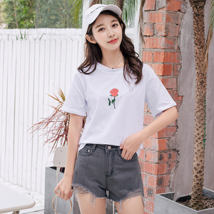 FY 2018 Fashion new white black summer blouse printed cotton t shirt women tops short sleeve