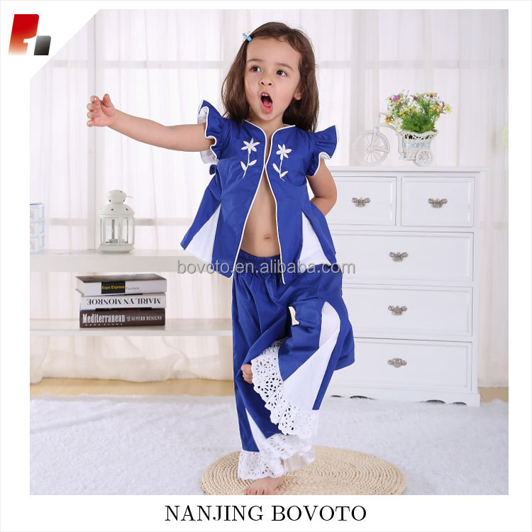 2017 JannyBB boutique design salwar royal blue girls casual cotton outfits clothing sets