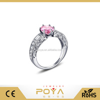 POYA Jewelry 925 Sterling Silver Created Pink Sapphire Vintage Estate Engagement Ring
