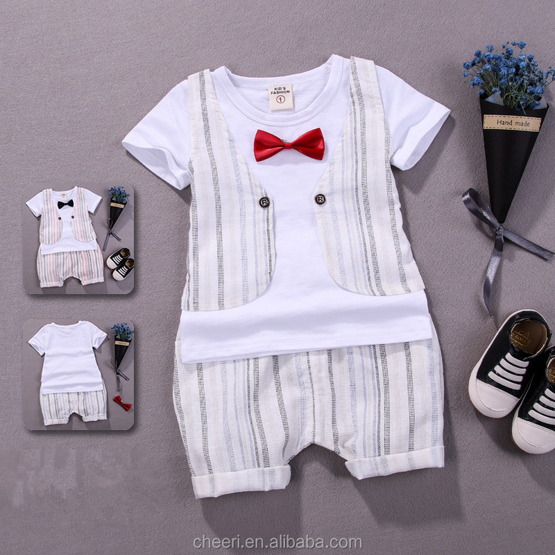 HT-CCS top selling hot kids baby boy clothing sets for summer infant baby boy clothes set brand suit baptism outfits for boys