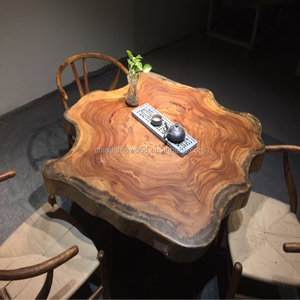 Vintage industrial Acacia wood live edge top coffee table base