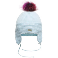 Myfur Baby Blue Wholesale Cotton Earflap Crochet Hat with Detachable Fur Pom Pom Top