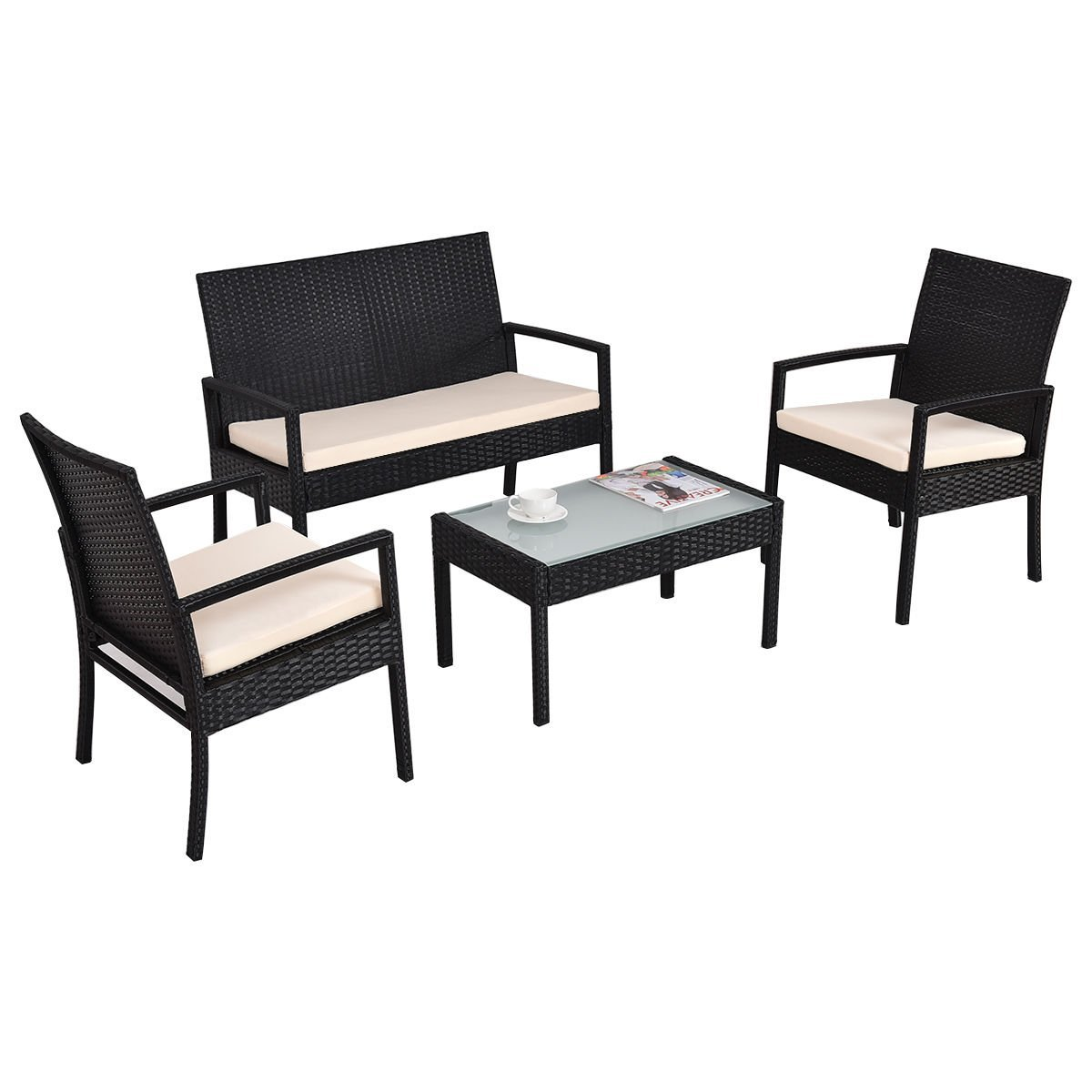 Get Quotations New Mtn G 4 Pcs Outdoor Patio Rattan Furniture Set Table Chair Sofa Cushioned Seat