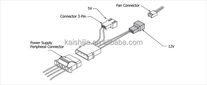 4pin molex to fan cable 4x 3 pin fan power splitter cable. Black Bedroom Furniture Sets. Home Design Ideas