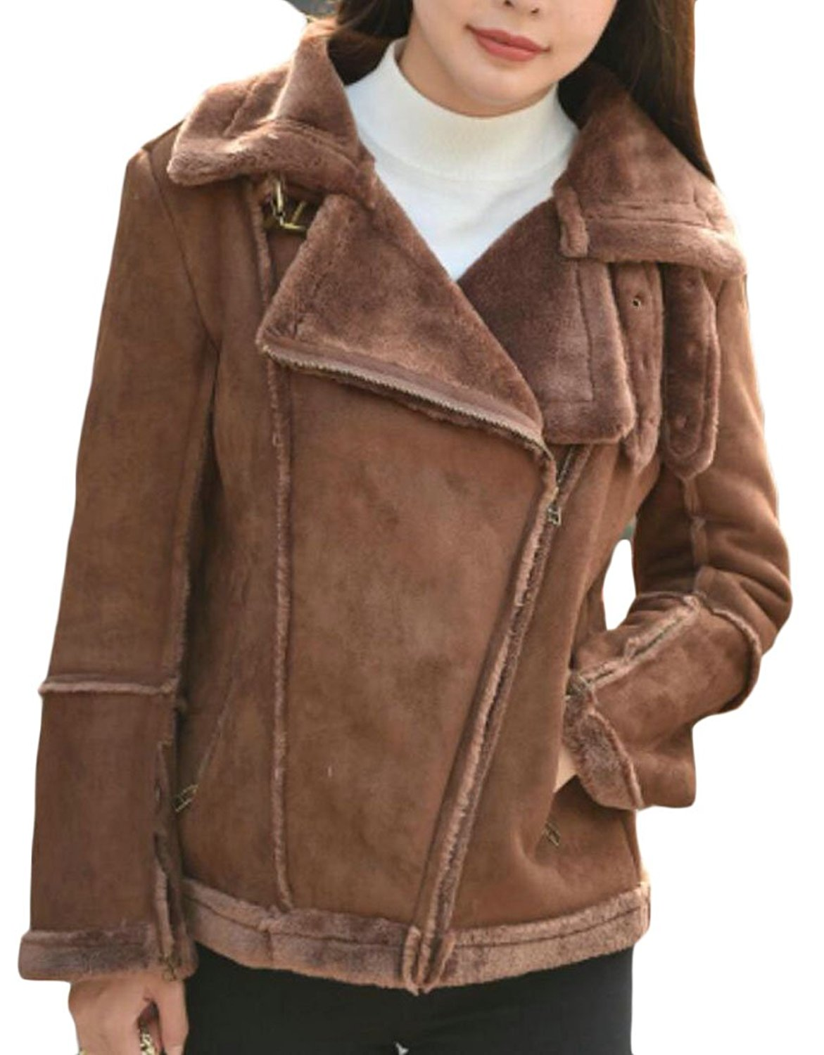 1795f6ed0a8e6 Get Quotations · CRYYU Women s Winter Plus Size Faux Shearling Suede Jacket  Coat