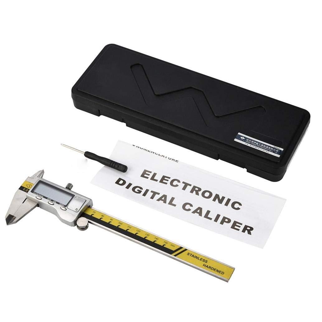 Rumas Stainless Steel Vernier Caliper Heavy Duty 6 Inch, Battery Operated Digital Measuring Gauge, Electronic Micrometer Caliper (Silver)