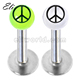 Fashion 316L Surgical Steel Labret with Peace Logo