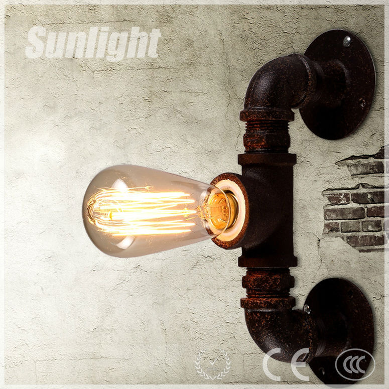 Iron Industrial Metal Medieval Style Waterpipe Wall Lamp /lighting ...