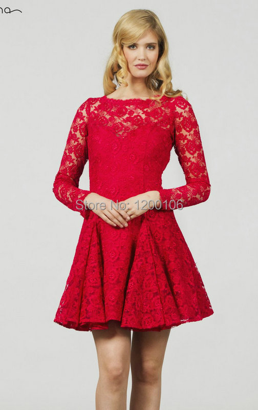 Red Long Sleeve Dress Short