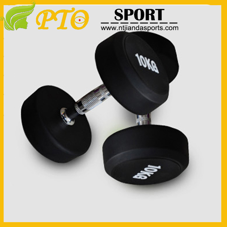 High quality round head PU coated dumbbell with custom logo