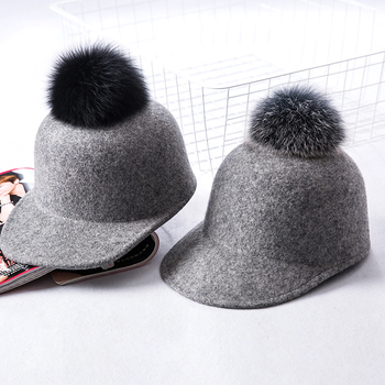 11daa1af97 Hot fashion Raccoon fur pom pom Baseball Cap women fall Sports snapback Hats