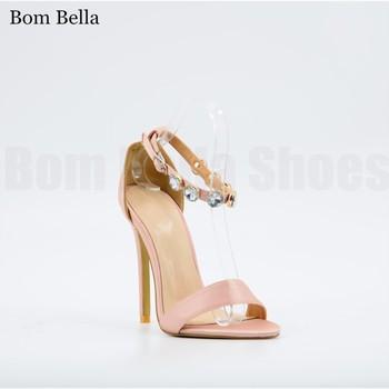 2ece4a9987 BBLA478 real satin lady stiletto heels crystal stone high heel sandals  shoes women