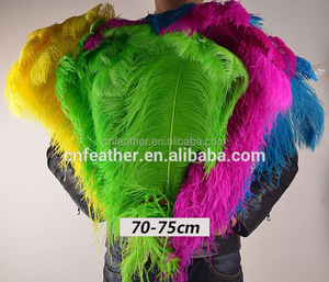 High Quality and cheap Artificial Large White and Dyed 70-75cm bulk ostrich feathers