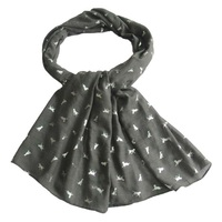 Woman Small Dog Silver Foil Oblong Scarf