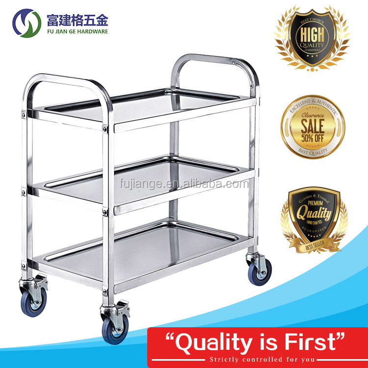 Stainless steel service trolley Restaurant Dining Cart with 2 3 tiers Thickening Plate