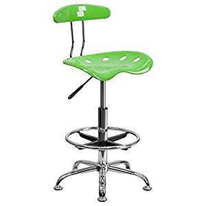 Apple Green Drafting Stool with Tractor Seat and Chrome Frame