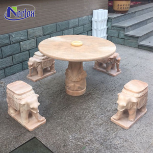 China Supplier Outdoor Garden Decoration Elephant Shape Red Stone Table And Chair For Exterior Furniture