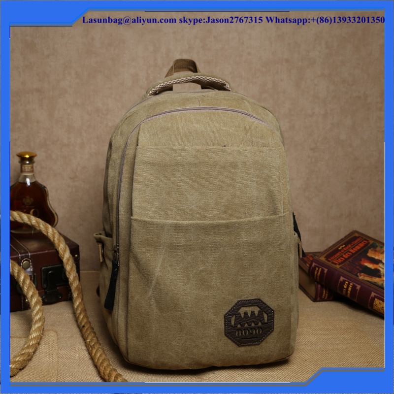 Hot Sale Coffee Colour Canvas Bags Strong Military Style Laptop School Backpack For Men Boys Hiking