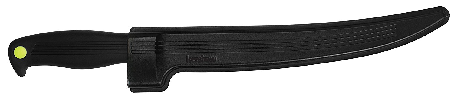 Kershaw Clearwater 9-In Fillet Knife (1259X) Fixed 420J2 High-Performance Stainless Steel Blade with Satin Finish, Black Textured Co-Polymer Handle with Neon-Green Detail and Included Sheath; 3.8 OZ