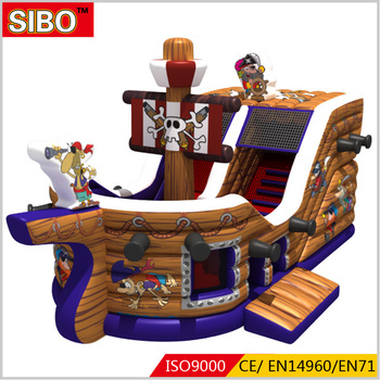 Fun pirate ship inflatable slide commercial PVC material air bouncy slide combo games