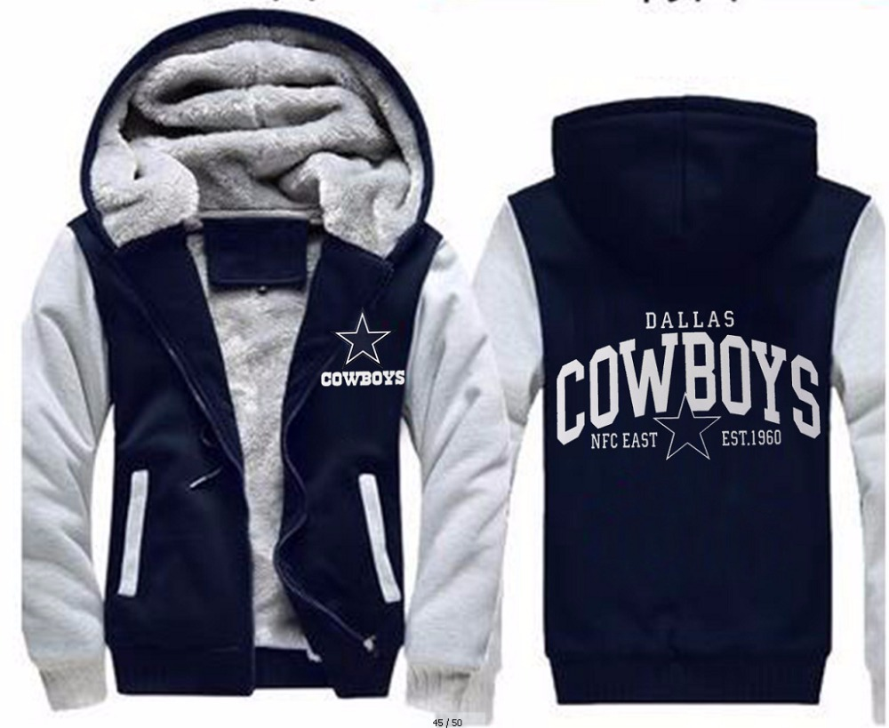 American Famous Dallas Football Uniforms Winter Thicken Jacket Cowboys Jersey Women Men Sweatshirt