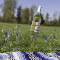 Quality Wine Bottle & Glass Holder Stake Set For Outdoor BBQ'S Garden Picnic UK