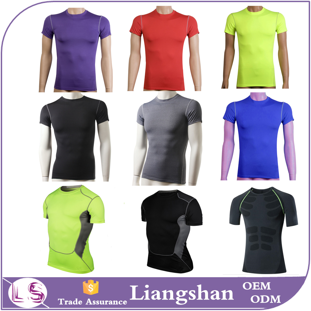2016 new Men's Short-Sleeve dri fit shirts wholesale Mens Compression Under Base Layer Top Tight T-Shirts