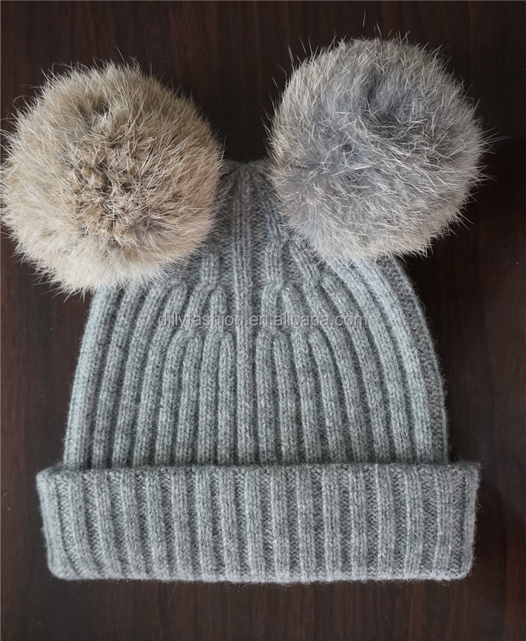 Bestknit Double Rabbit Fur Pompom Baby Hat - Buy Baby Hat f201fe90c92
