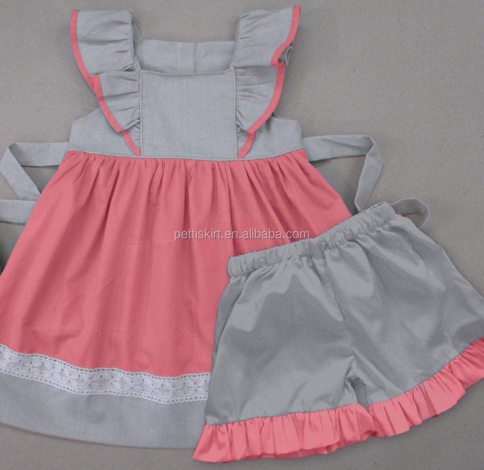 Light pink seersucker dress with white collar baby dress