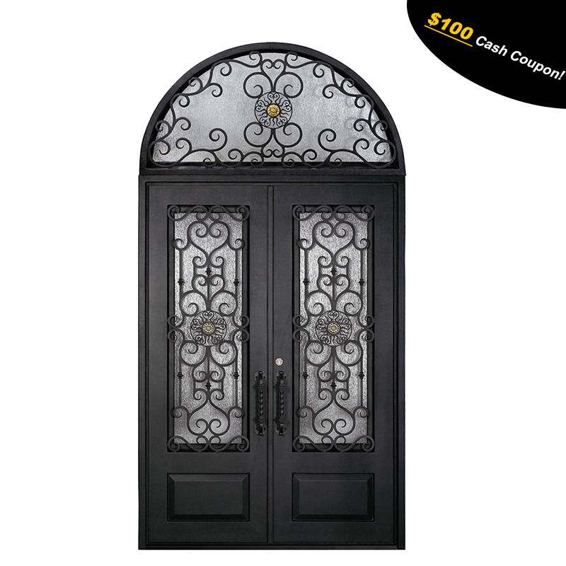 Wholesale luxury front entry wrought iron glass storm doors