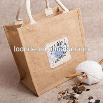 custom printed company logo Burlap Jute Hessian shopping bags reusable grocery Jute tote Jute shoulder bags