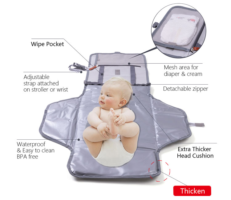 Waterproof baby travel changing pad diaper changing mat portable