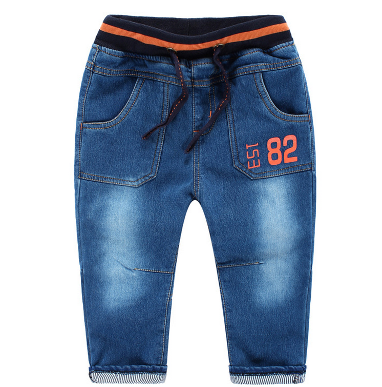 Z88606C autumn printed fleeces kids jeans