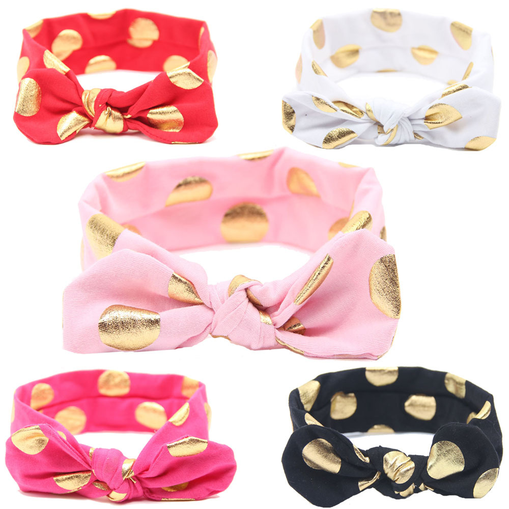 Free shipping 10 pcs lot Polka Dot Top Knot Headband Gold Polka Dot Baby Turban