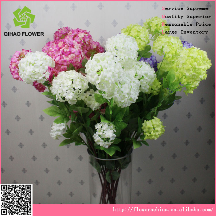 4 Heads Silk Hydrangea Flowers Artificial White Color Petals Buy