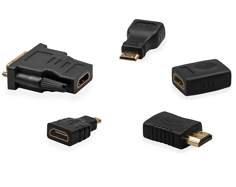 Premium Super Speed HDMI Adapter 5 Pack - HDMI Female to Female Adapter, HDMI Female to Micro HDMI Adapter, HDMI Female to DVI 18+1Pin Female, HDMI Female to Male, HDMI Female to HDMI Micro Male