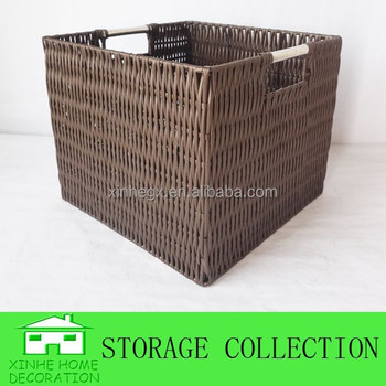 Handwoven Square Brown Plastic Wicker Basket With Stainless Steel Handle