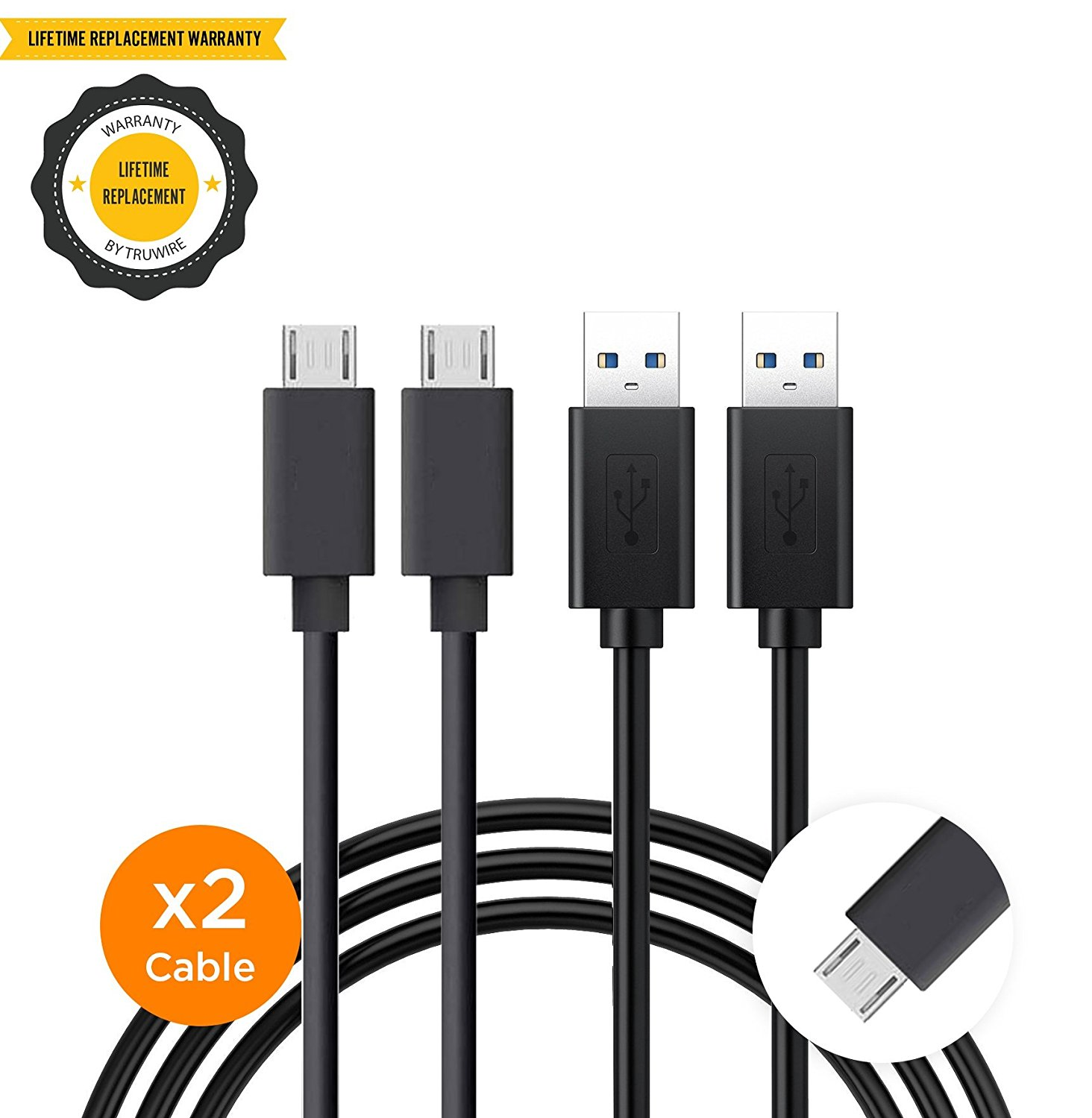 Kyocera Brigadier Charger Micro USB 2.0 Cables Micro USB Data Sync Charging Cable, Durable Braided Fast Charging Charger Cord by Truwire - {2 Cable} Black