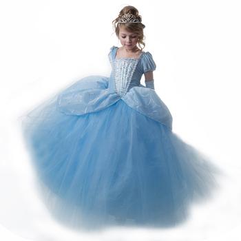 c1714ff94 Halloween Cinderela Princesa Vestido de Veludo De Manga Puff Vestido com  Strass
