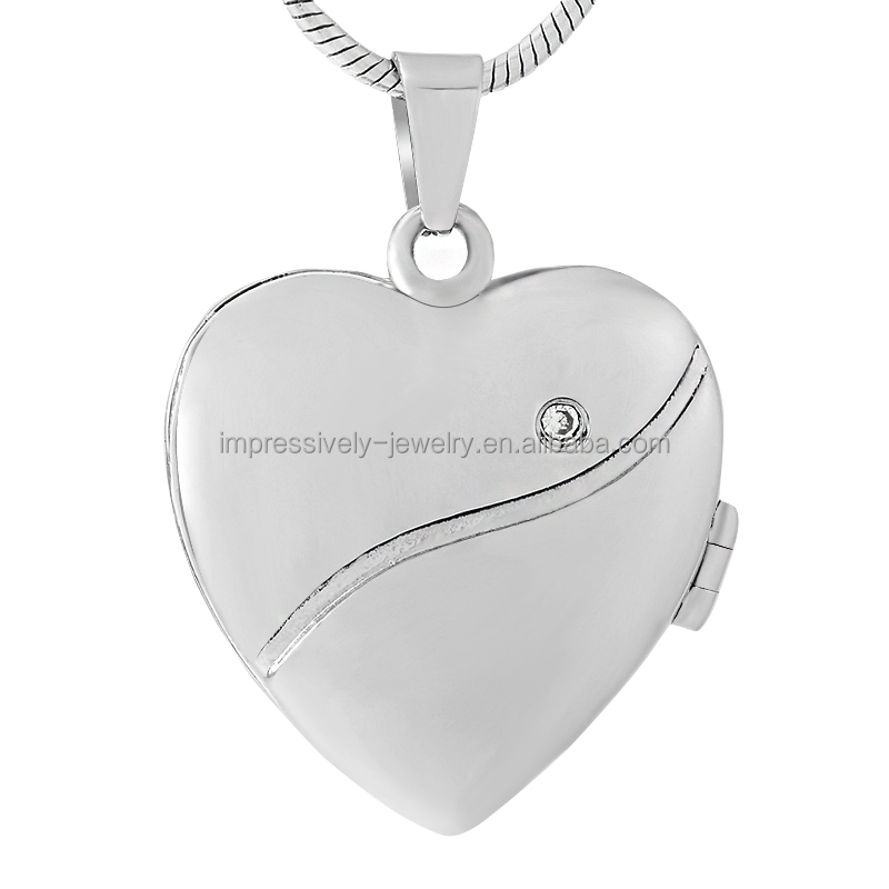 IJD9431 Impressively Jewelry bulk wholesale accept customize engrave logo heart shaped picture Photo frame cremation pendant