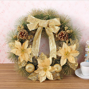 DM 543 Festivel decoration 40 cm bright gold flower PVC Fiber Optic christmas wreath door artificial Christmas garland